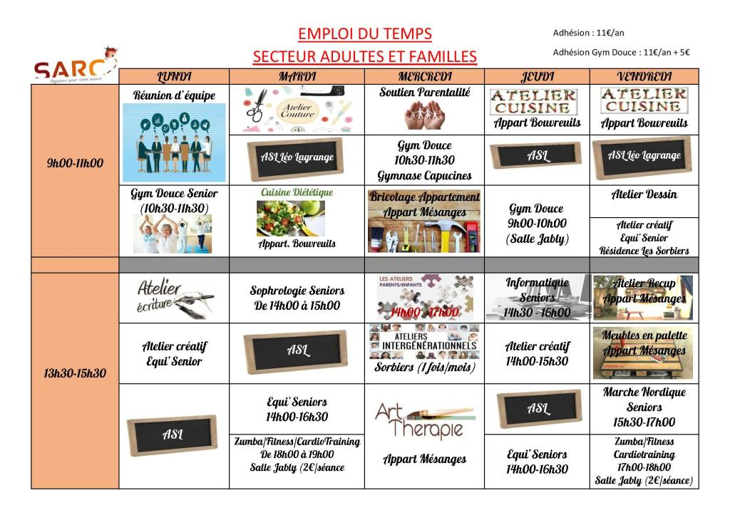 Planning des activités du secteur Adultes et Familles